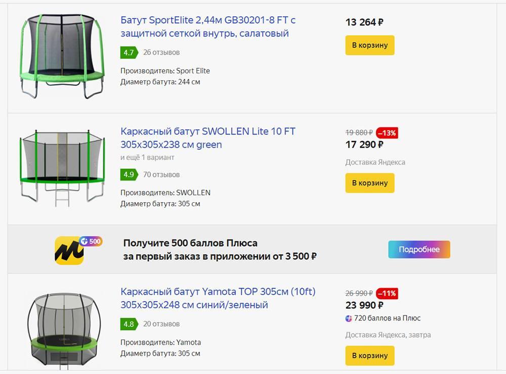 Цены на детские батуты на «Яндекс-маркете». Сейчас они даже подешевели