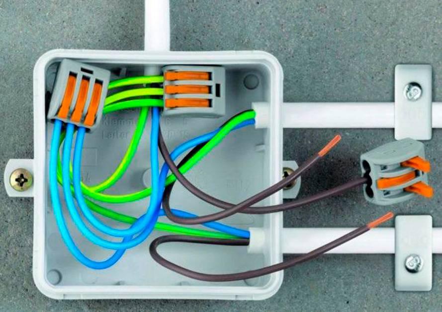 К распределительной коробке идет провод от щитка. А из нее выходят более мелкие провода — длярозеток, выключателей и светильников. Источник: «Электрик-220»