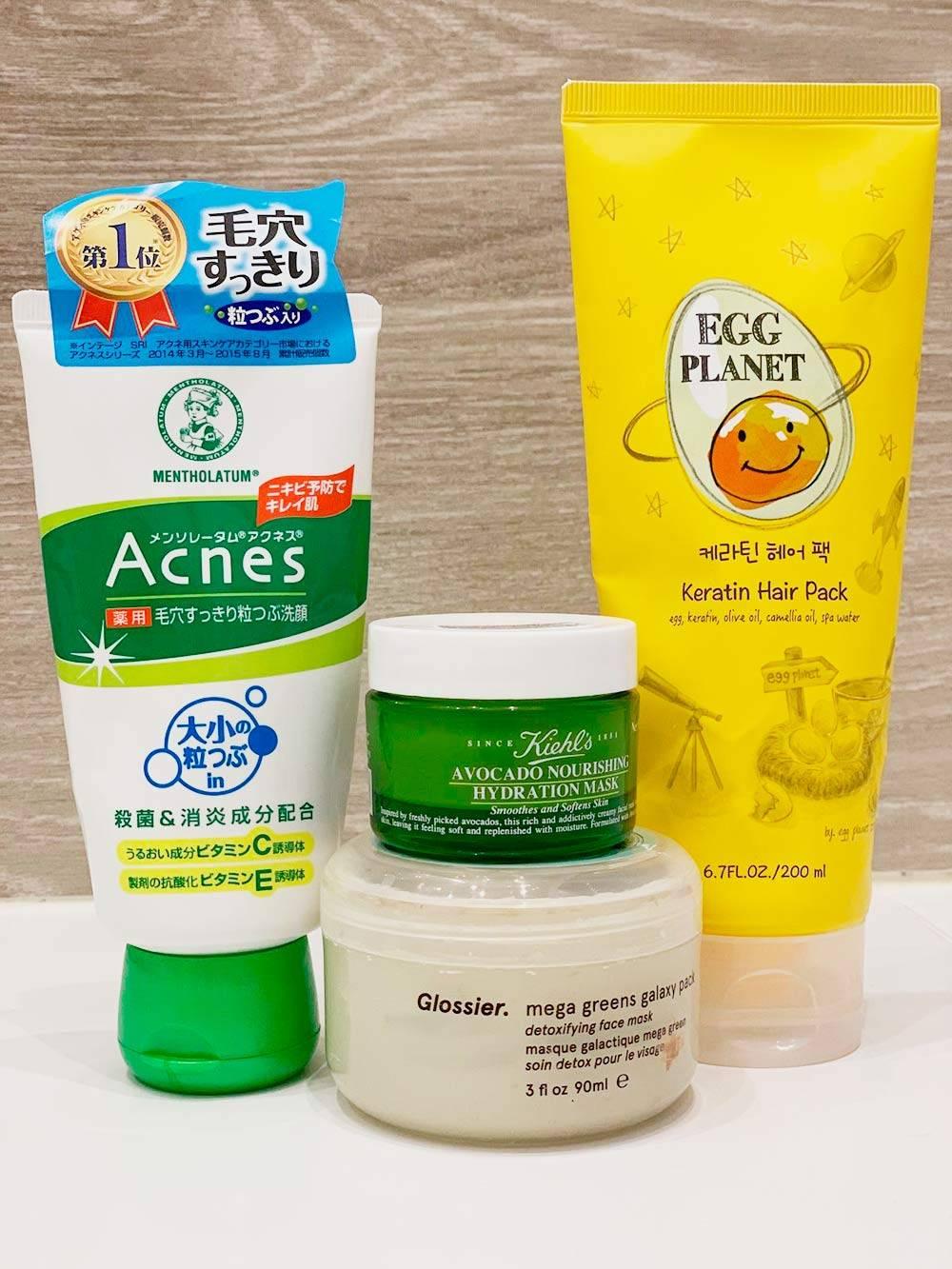 Крем-скраб длялица Acnes, питательная маска с авокадо Kiehl's, очищающая маска Glossier и маска дляволос с кератином Egg Planet