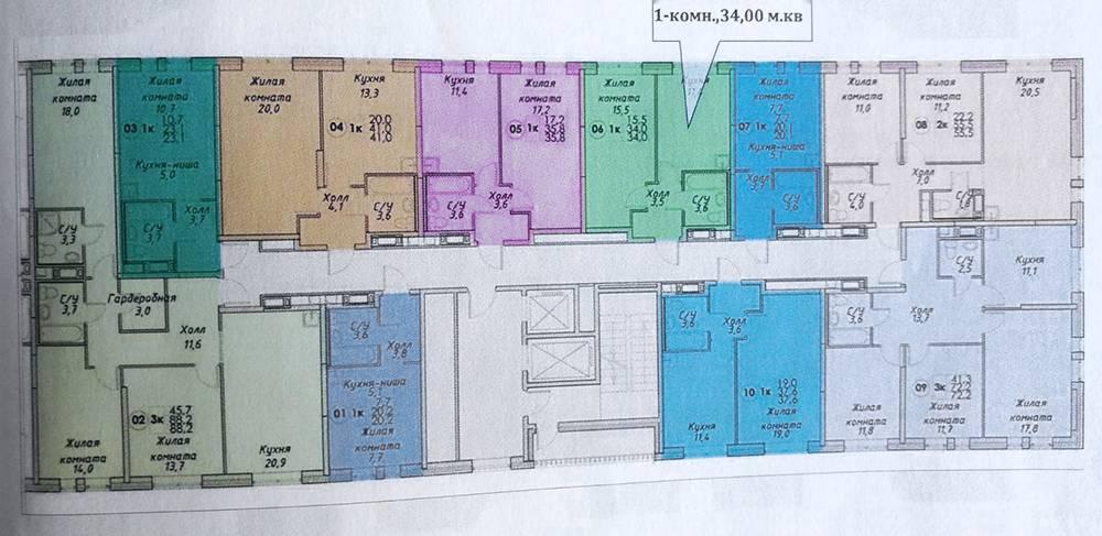 Моя квартира обозначена на схеме зеленым цветом. Принебольшом метраже в 34 м² она вполне функциональная. Планировки у ПИК считаются одними из лучших на рынке. Они часто выжимают из метража все, что можно