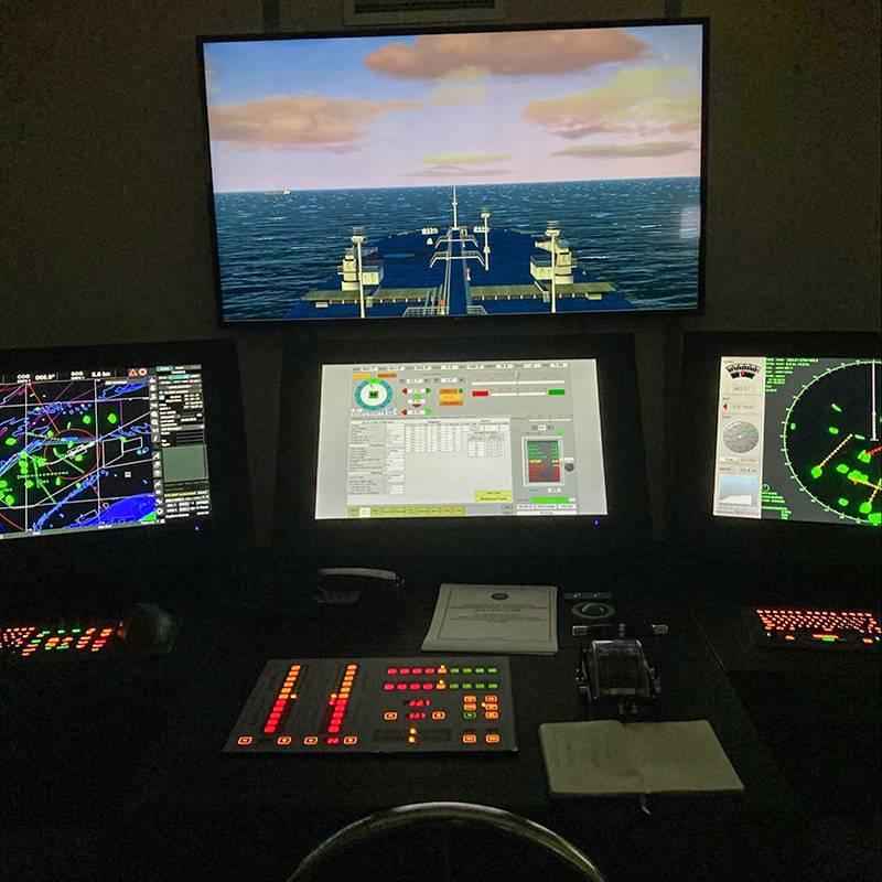 На этом тренажере есть несколько экранов: визуализация, сводная информация о судне, радар, электронные карты. На фото темно, таккак на занятии отрабатываем отдачу якоря в Сингапуре вечером