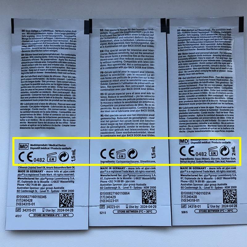 А на саше с силиконовым лубрикантом Pjur есть значки о годности после открытия упаковки: хранится целых 6 месяцев