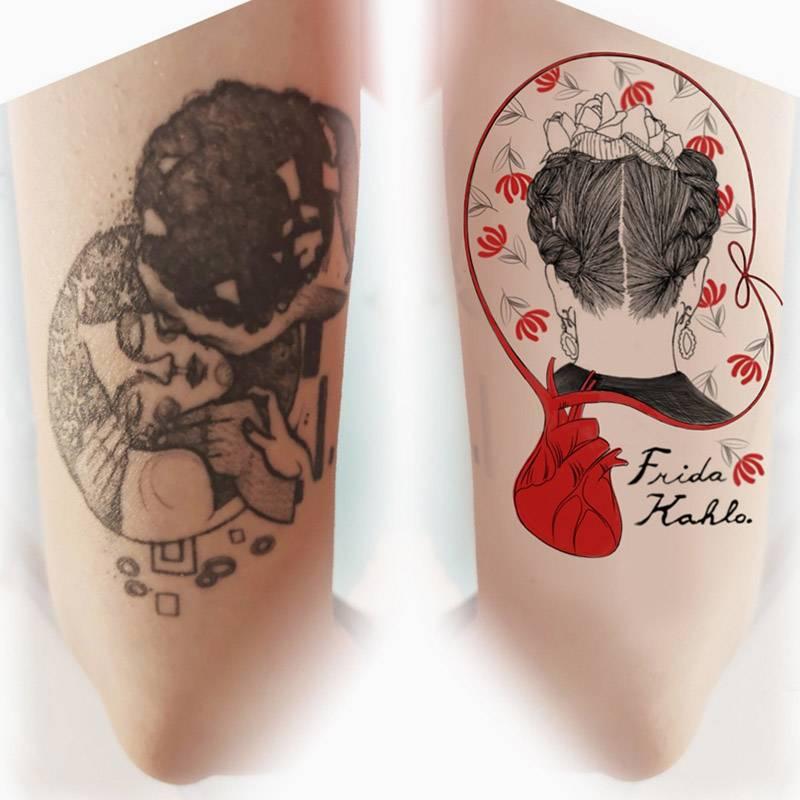 Слева моя татуировка на левой руке, она уже есть. А справа — эскиз новой