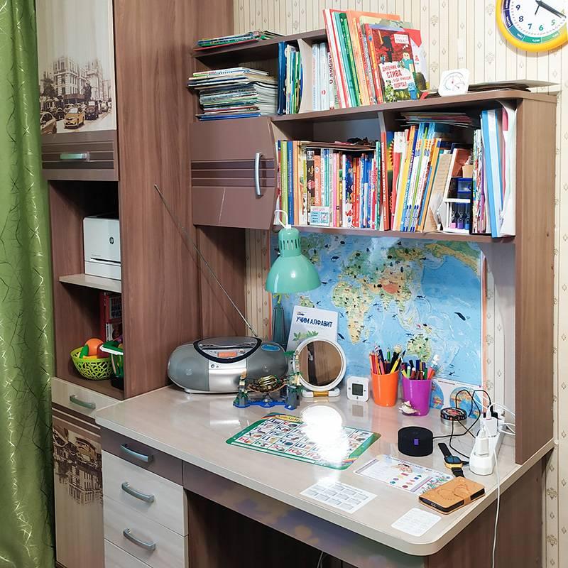 Перед первым классом старшего я потратила на мебель 42 000<span class=ruble>Р</span>. Купила обоим детям столы с надстройками, шкафы-пеналы, комоды и кресла. Собирала все сама