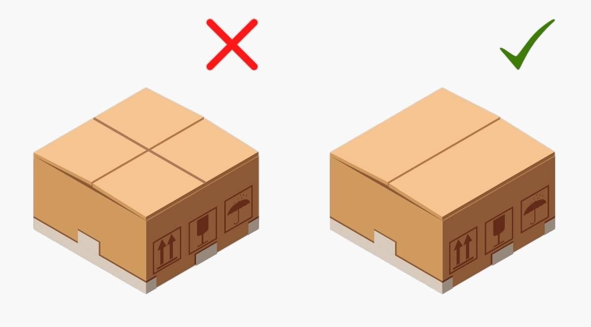 Не стоит складывать малые клапаны-створки с половинными — так коробка быстро развалится. Чтобы она пережила переезд, сначала сложите малые створки, а затем — половинные