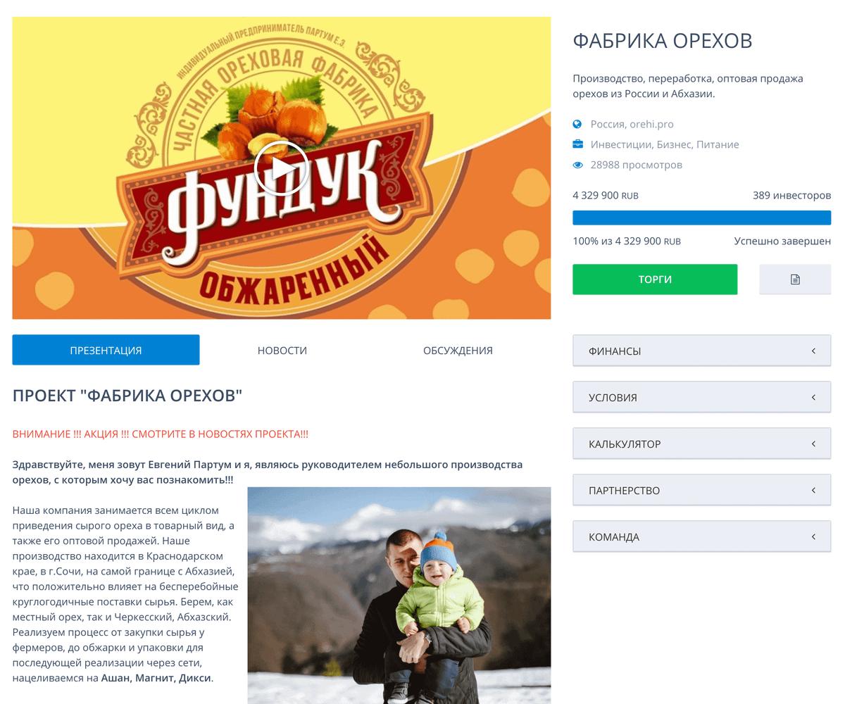 Проект «Фабрика орехов» собрал большую по меркам сайта сумму: более 4 млн рублей. Людям понравилось то, что у заявителя был уже готовый бизнес по производству упакованных орехов, а деньги нужны были только на расширение