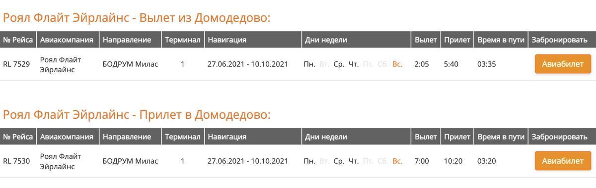 В расписании аэропорта Домодедово заявлены рейсы Royal Flight в Бодрум