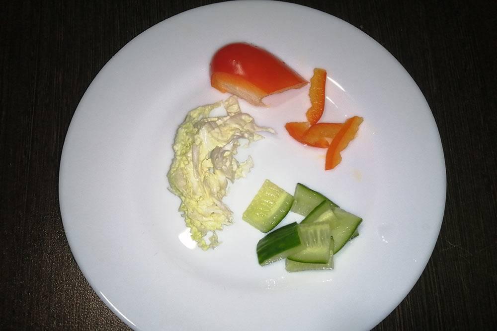 Порезанные овощи дляЧипы. Их я скармливаю с рук. Порция примерная, но чаще всего Чипа и ее не съедает