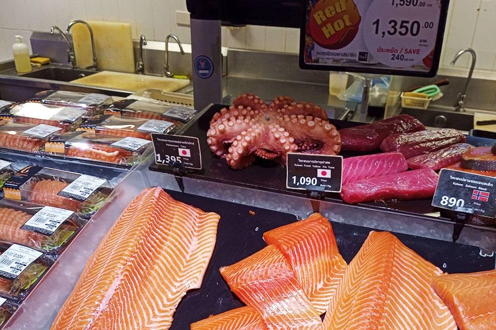 Рыба и морепродукты в супермаркете Tops