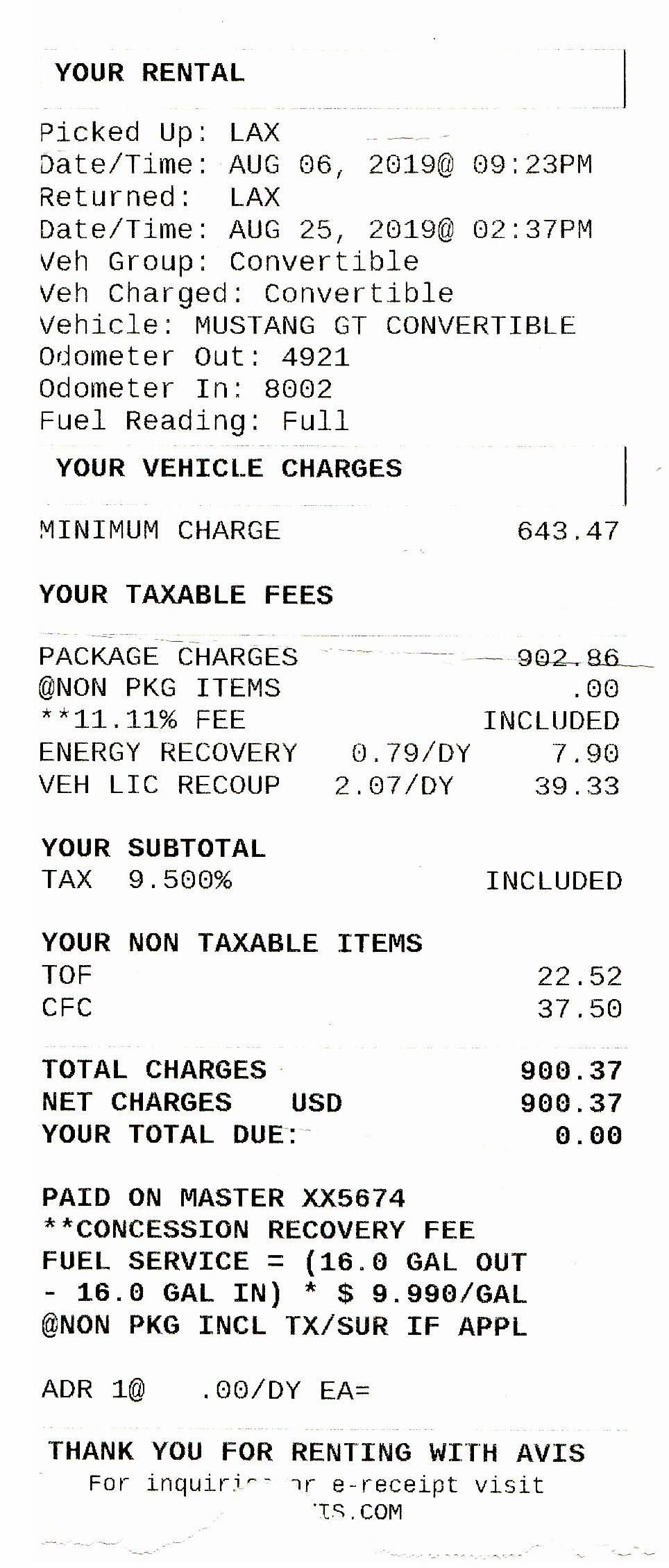 После оплаты автомобиля вместе с договором аренды нам выдали чек. Оказалось, что аренда автомобиля стоит 41 470<span class=ruble>Р</span>, а все остальное — налоги и сборы