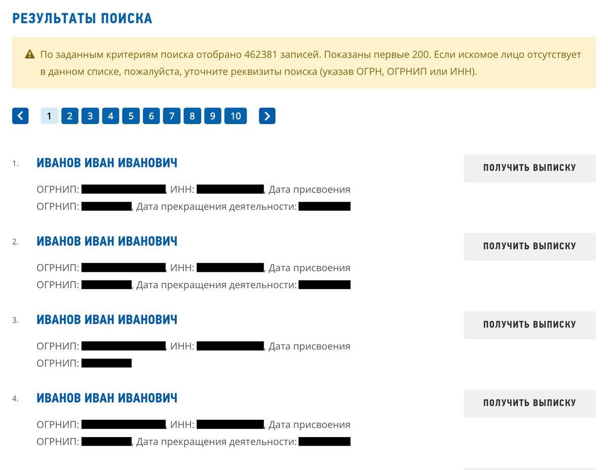Результаты поиска ИП по ФИО. В таблице найдите нужного индивидуального предпринимателя — напротив фамилии в соответствующей колонке будет его идентификационный номер
