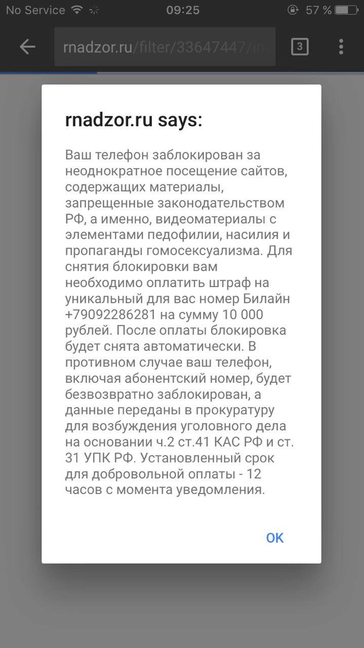 Мошеннический сайт пугает пользователя и требует 10 000 рублей. В этом случае достаточно очистить историю браузера. Настоящий вирус сам украдет деньги с мобильного счёта или через интернет-банк