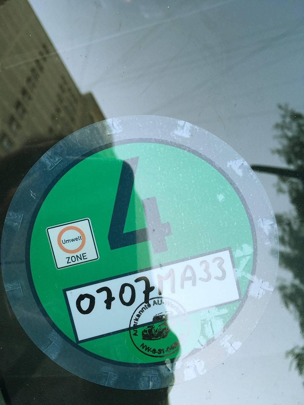 Плакетка для въезда в зеленую зону в Германии привязана к регистрационному номеру автомобиля