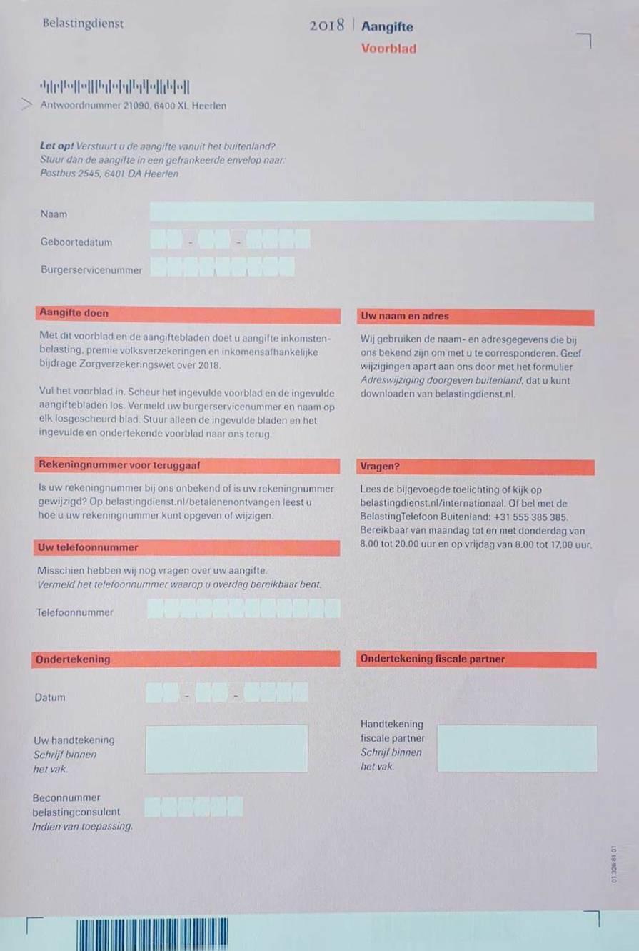 Так выглядит декларация, которую вы получите в первый год по почте от налоговой. Она полностью на голландском