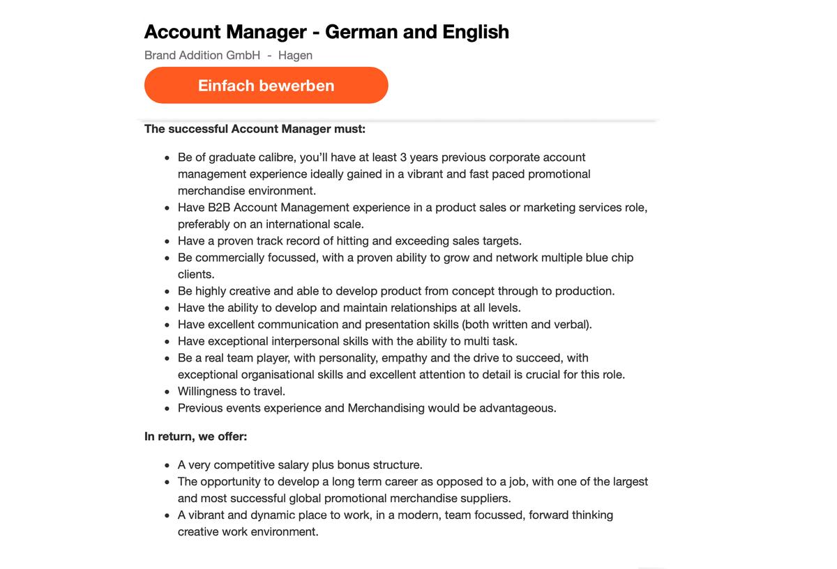 Вакансия главного менеджера по работе с клиентами в моей компании на сайте indeed.de. Требования: 3 года опыта работы с корпоративными клиентами в рекламной сфере, владение английским и немецким языками
