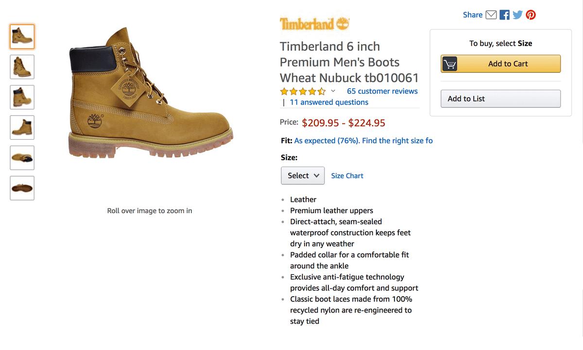 Покупать будем вот эти ботинки, на «Амазоне» они стоят 224,95$