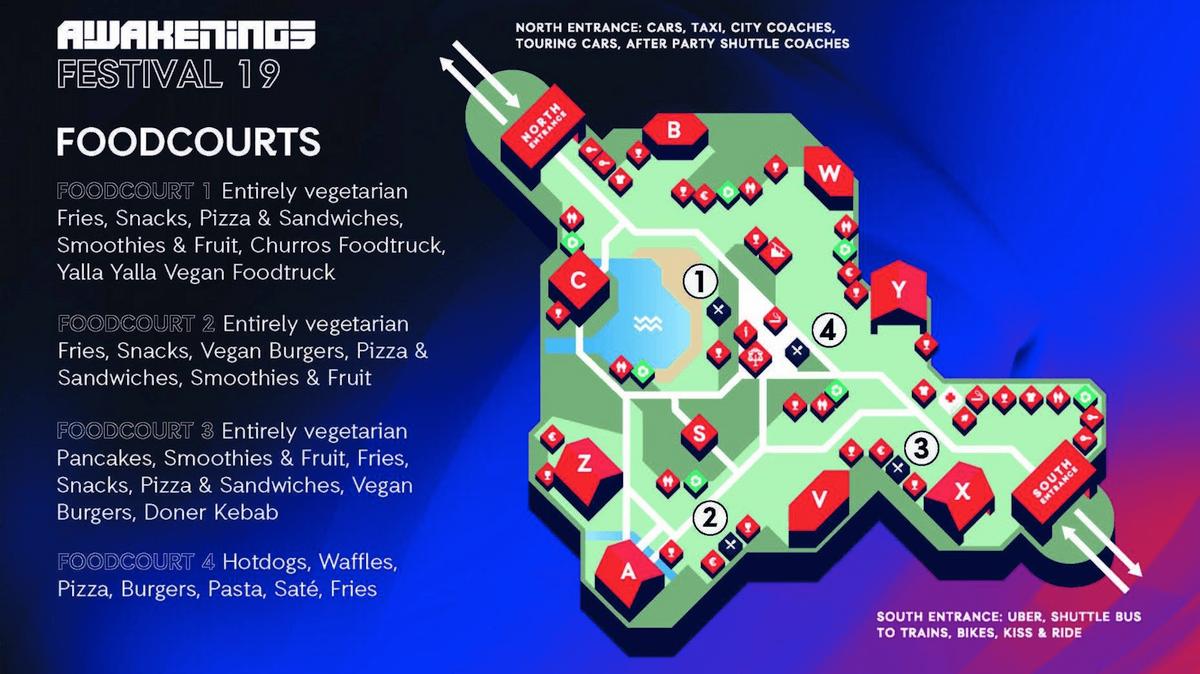 Карта фестивальных фуд-кортов. Три из них полностью вегетарианские
