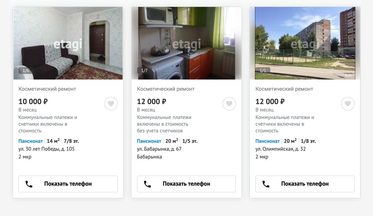 Цены на аренду пансионата в разных частях города. Источник: «Этажи»