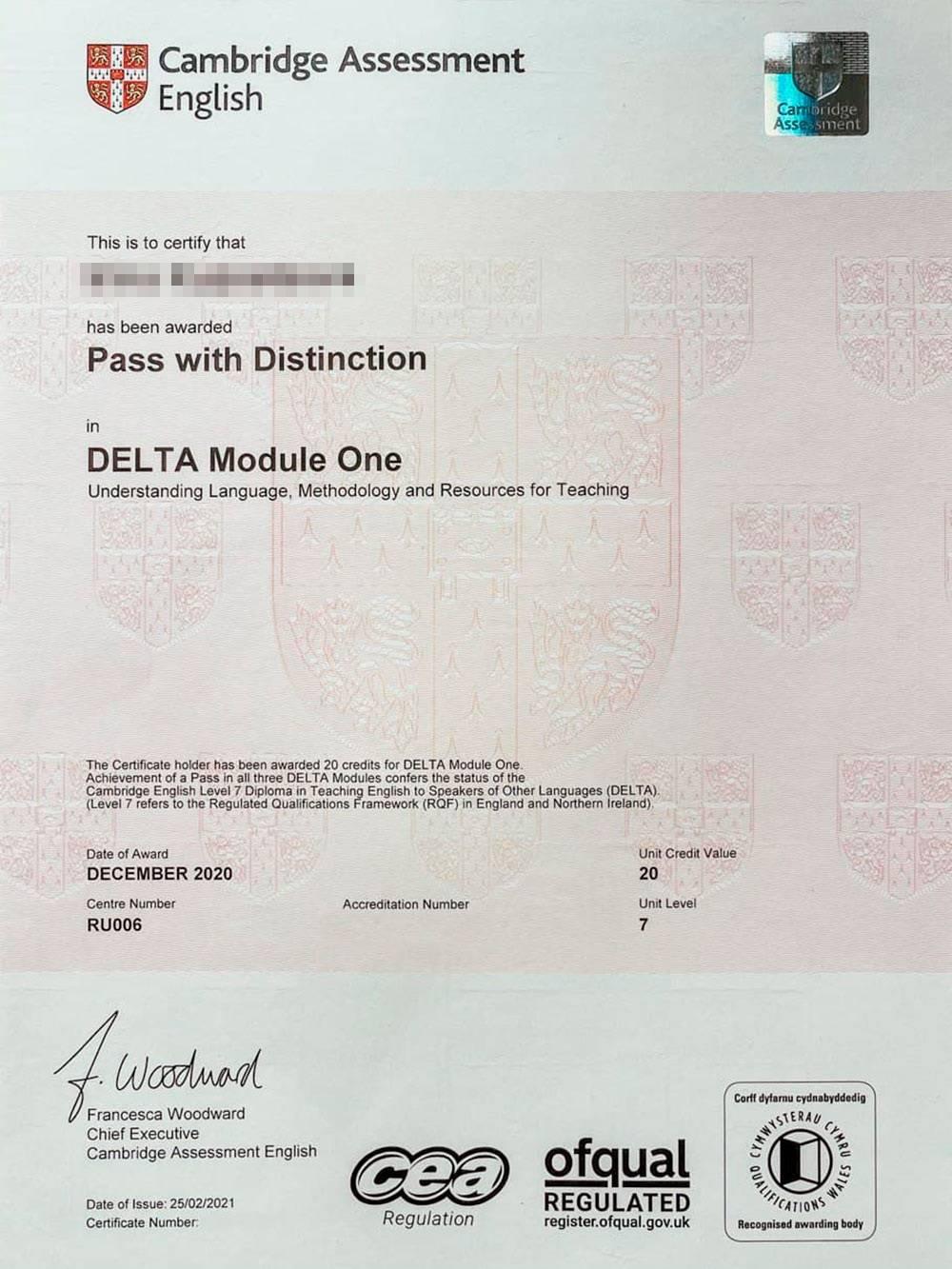 Сертификат Delta дляанглийского языка: преподаватель понимает язык, освоил методологию, знает ресурсы дляпреподавания. Это первый модуль, есть еще два