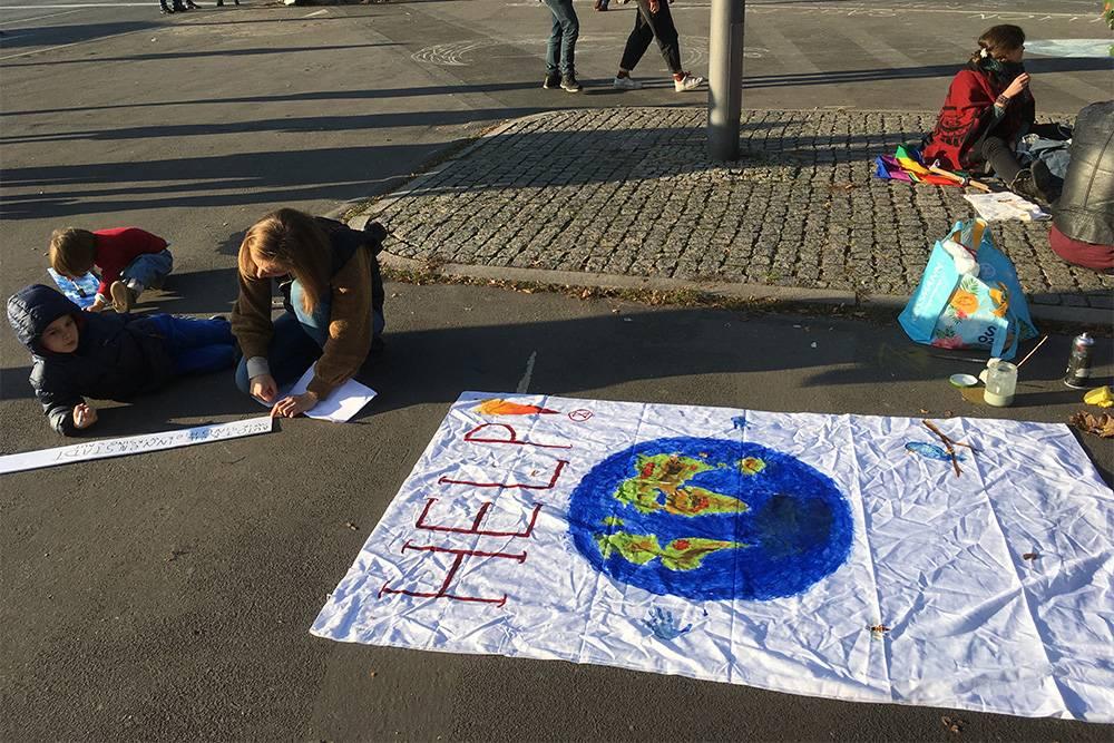 Работа над репортажем про климатическую забастовку в Берлине