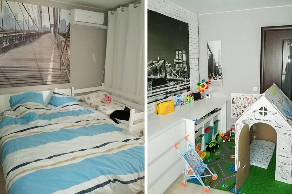 Сделала уборку в спальне: пропылесосила пол, собрала игрушки, застелила постели, протерла пыль