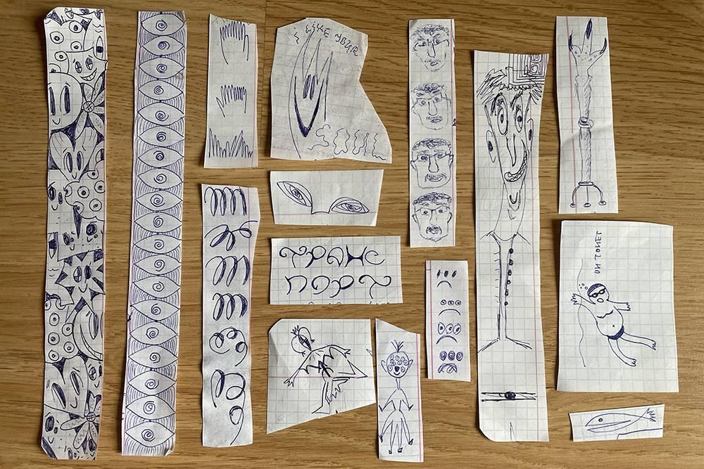 Мои рисунки на полях из старых школьных тетрадей