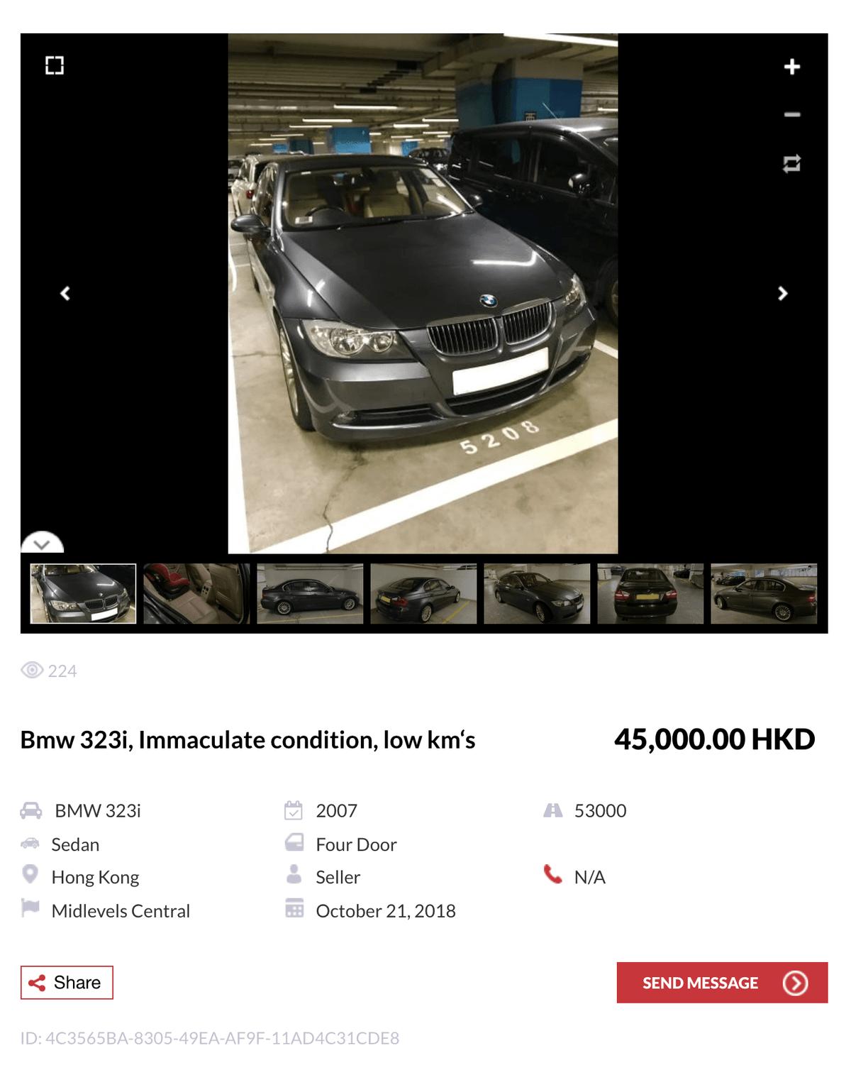 Например, БМВ 323-ай 2007 года с пробегом 85 000 км стоит 45 000$