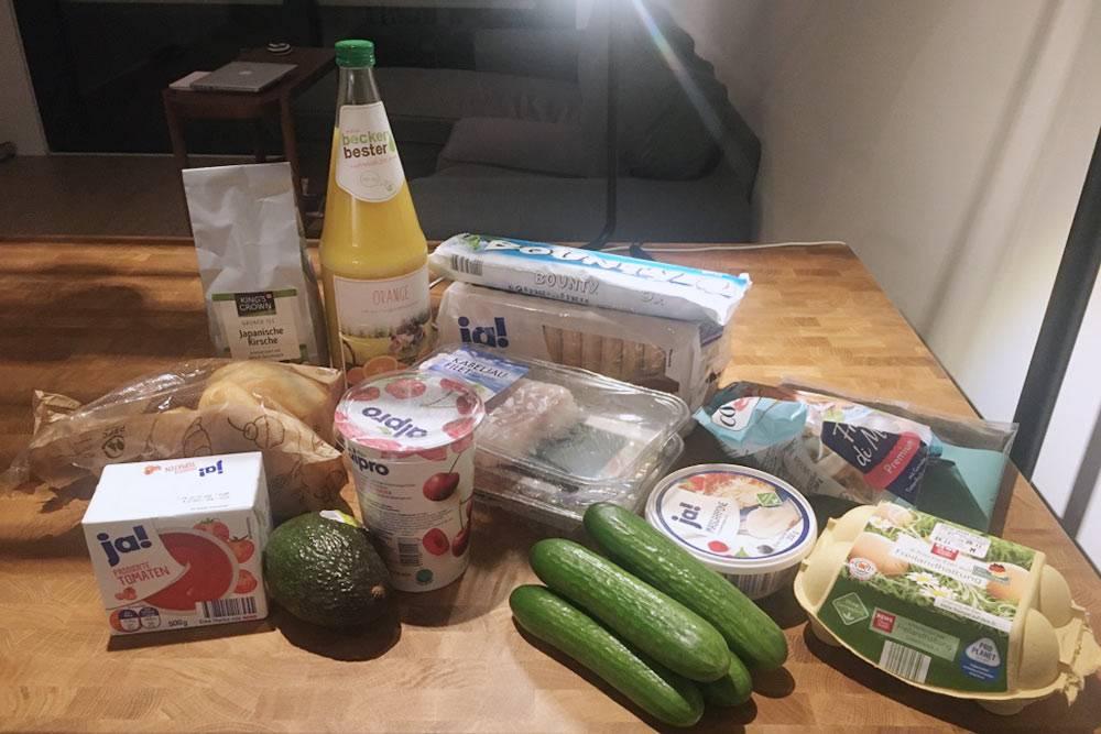 Мой набор продуктов для&nbsp;тирамису, рыбного супа, авокадо-тостов стоил 32,22€ (2442<span class=ruble>Р</span>)