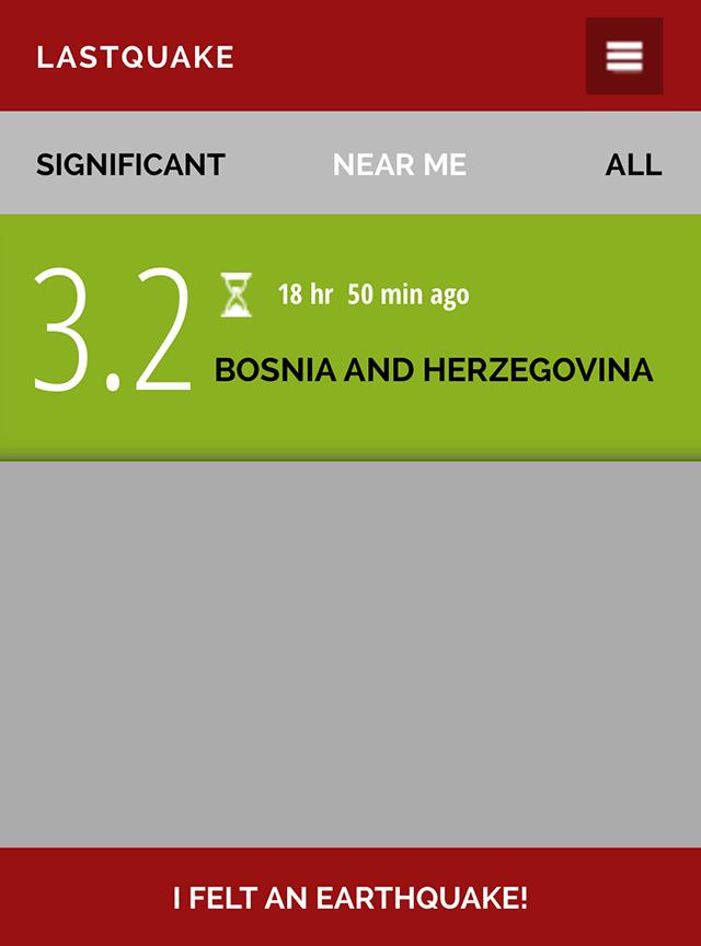 Скриншот приложения LastQuake. 19 часов назад было землетрясение, но небольшое