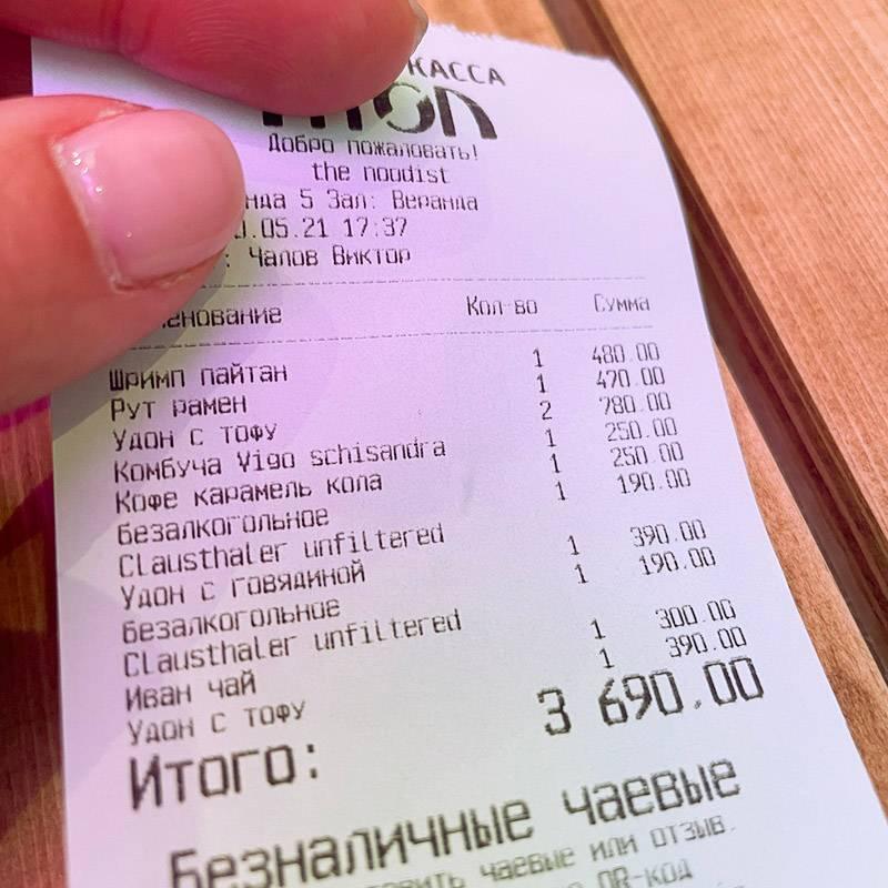 Всего поели на 3690<span class=ruble>Р</span>, из них 2000<span class=ruble>Р</span> — наши с мужем расходы