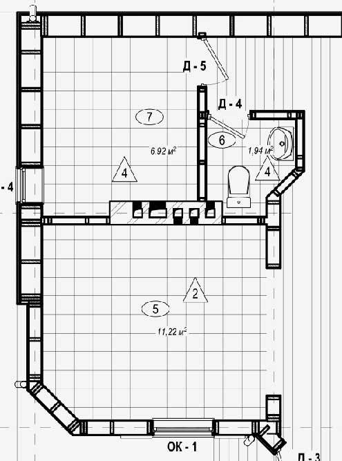 Мой план первого этажа: топочная (7), с/у (6), кухня (5) — смежные помещения