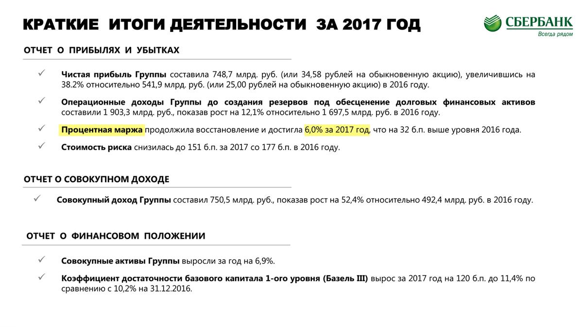 Страница 3 отчета Сбербанка по итогам 2017 года