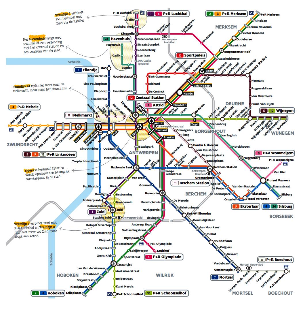 Схема транспортной системы Антверпена