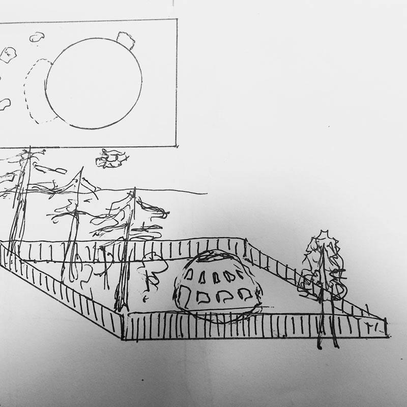 Визуализация дома с деревьями на одном из участков. Сверху — размещение дома в масштабе
