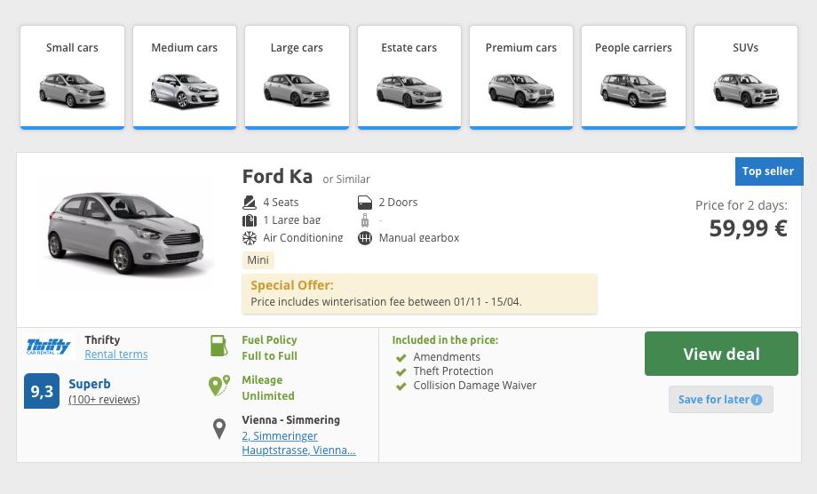 Машина экономкласса обойдется на&nbsp;Rentalcars почти в&nbsp;60€ (5400<span class=ruble>Р</span>) за&nbsp;2&nbsp;дня