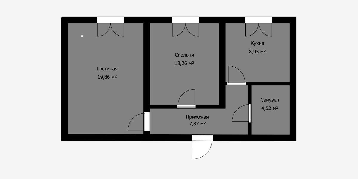 В панельных домах все поперечные стены обычно несущие и демонтировать можно только одну перегородку — между жилой комнатой и коридором