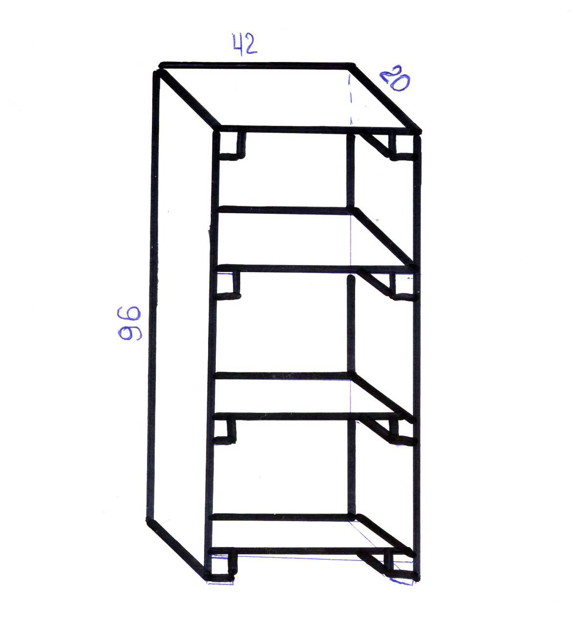 Мой схематичный чертеж мини-стеллажа. Высота — 96см, ширина — 42см, глубина — 20см