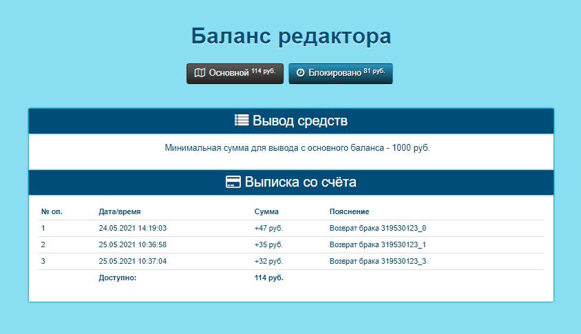Я заработал только 114<span class=ruble>Р</span>, но и эти деньги вывести не смогу, потому&nbsp;что минимальная сумма для&nbsp;вывода — 1000<span class=ruble>Р</span>