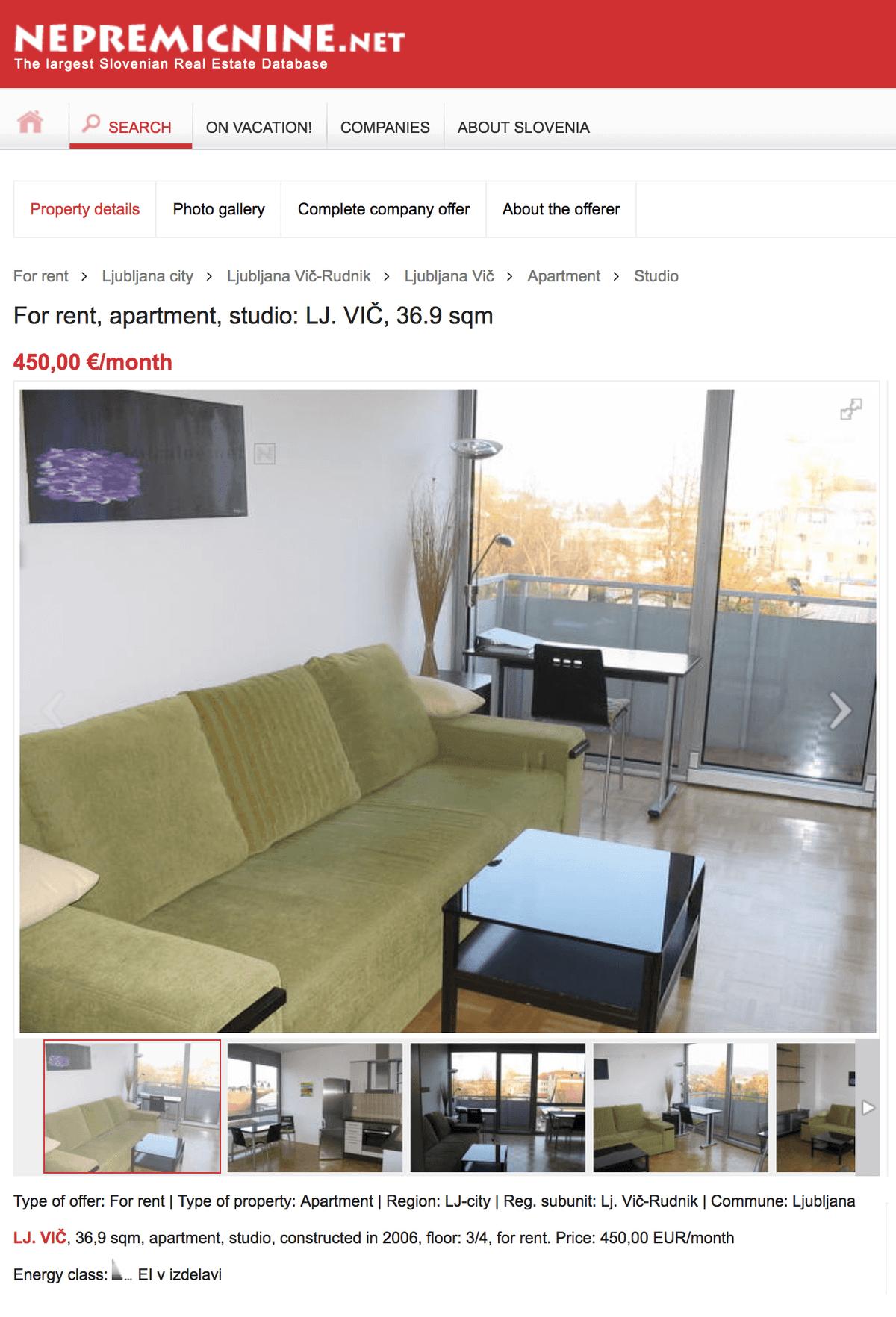 Вот такую студию в Любляне можно снять за 450€ в месяц