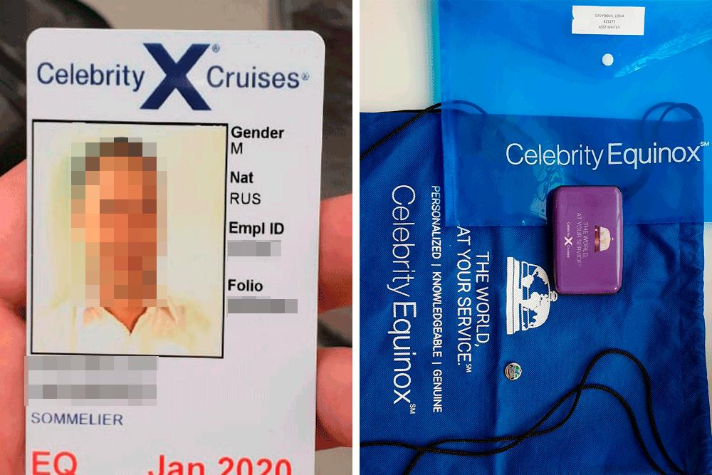 Слева айди-карта, ее оформляют вместо паспорта. Если ее потерять, то новую оформят за 15$ (1110<span class=ruble>Р</span>). Справа — сувениры от компании. На рюкзаке указаны название корабля и лозунг компании: «Весь мир к вашим услугам»