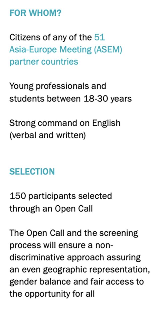 На саммит молодых лидеров Европы и Азии приглашали только участников в возрасте от 18 до 30 лет, которые говорят и пишут на английском и являются гражданами определенных стран