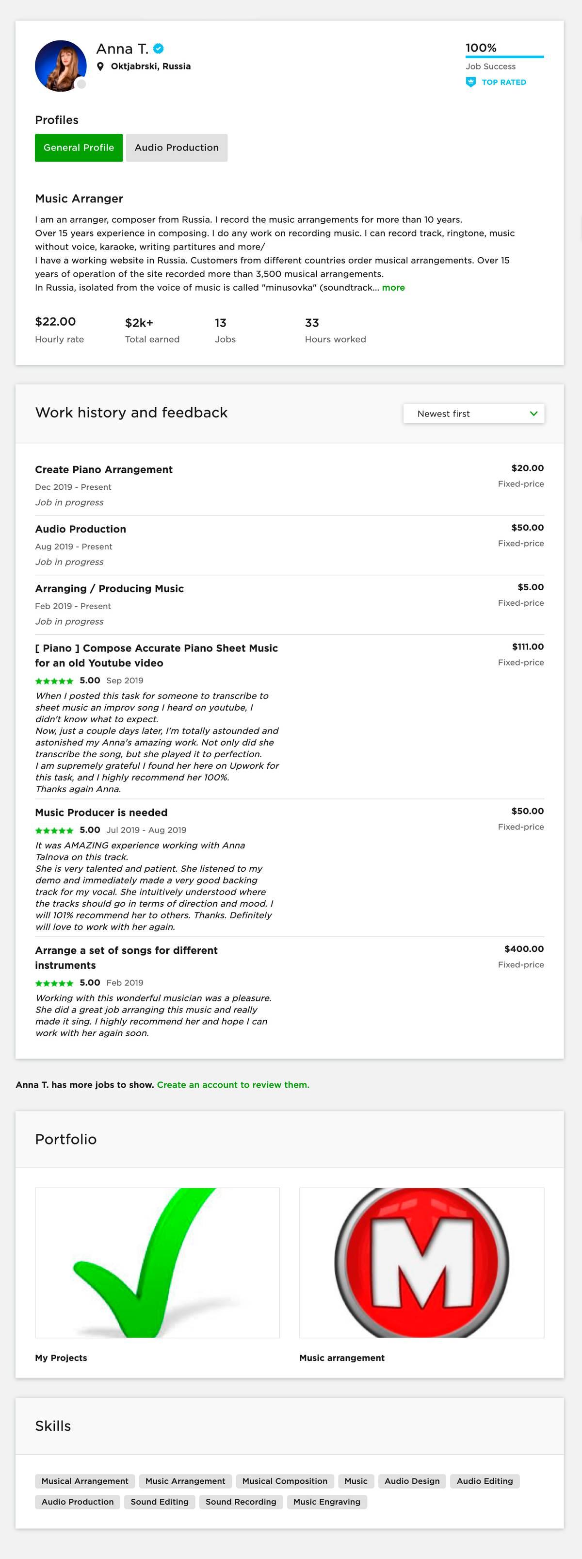 Мой профиль на бирже «Апворк»