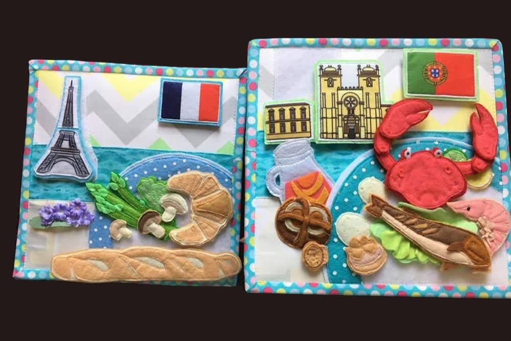 Книга о путешествиях, национальных блюдах и достопримечательностях для девочки пяти лет. В этой книге девять стран — по одной на каждую страницу