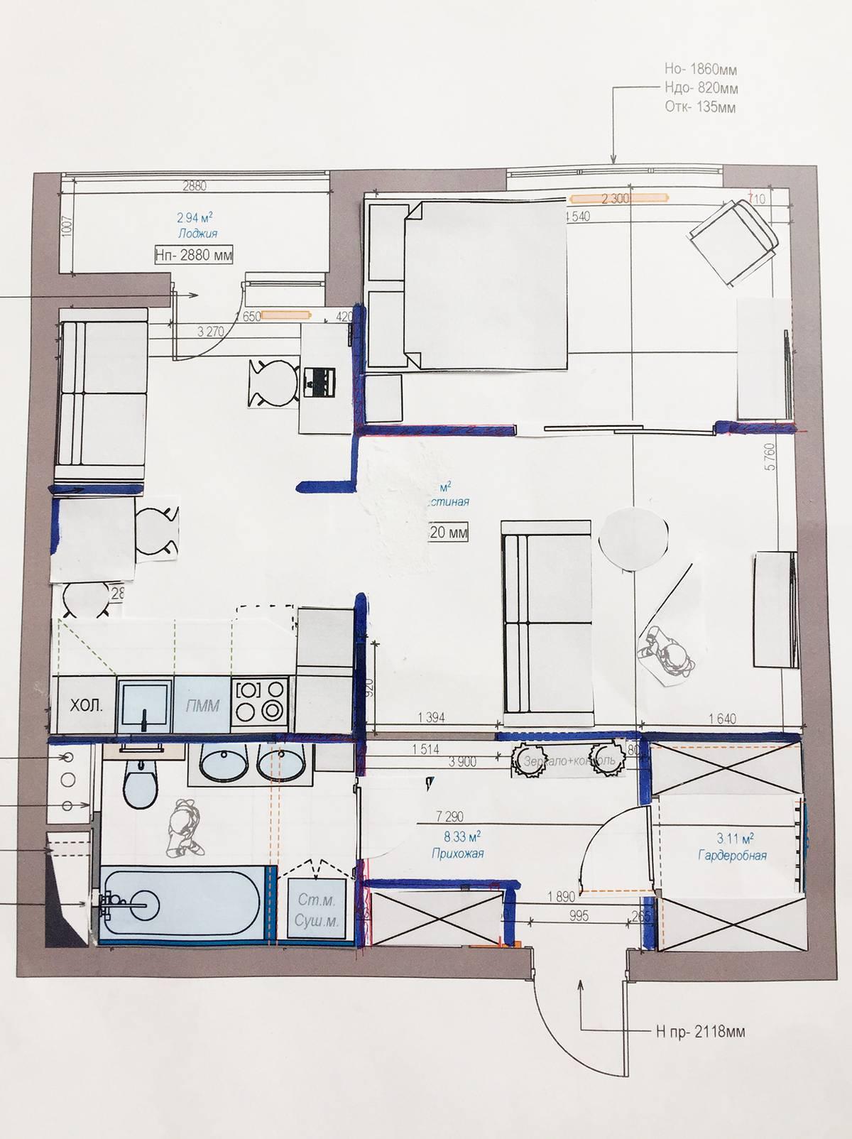 Так выглядела наша работа над планировкой. На начерченном плане квартиры мы расставляли бумажную мебель