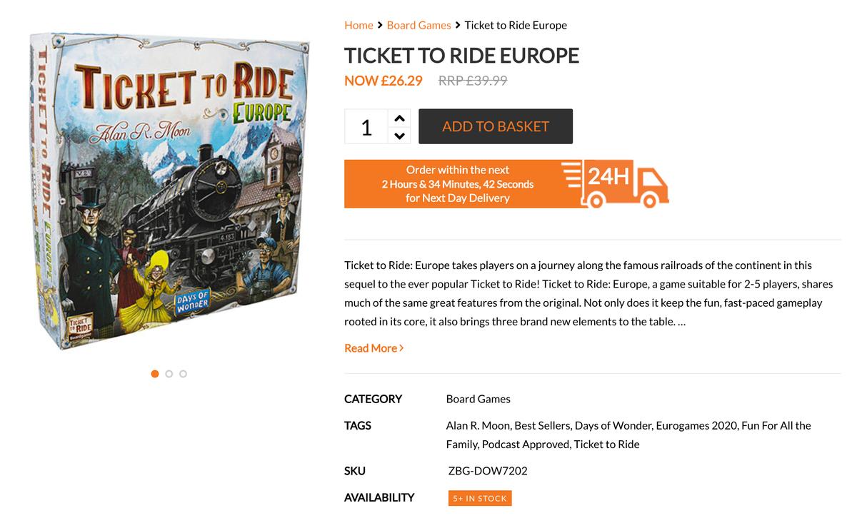 В британском магазине Zatu Games эта игра стоит 26,29£