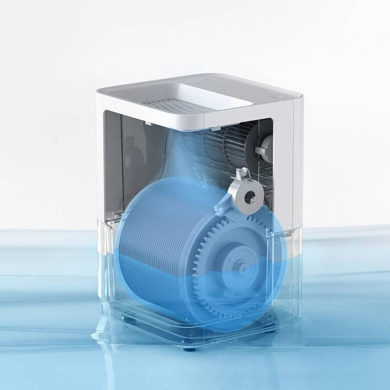 Так устроен традиционный увлажнитель от «Сяоми»: воздух проходит через весь увлажнитель, насыщается водой на дне и выходит обратно