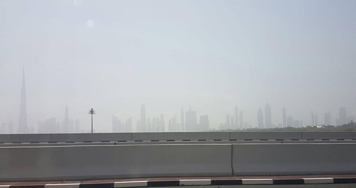 Небоскребы Дубая, вид с шоссе