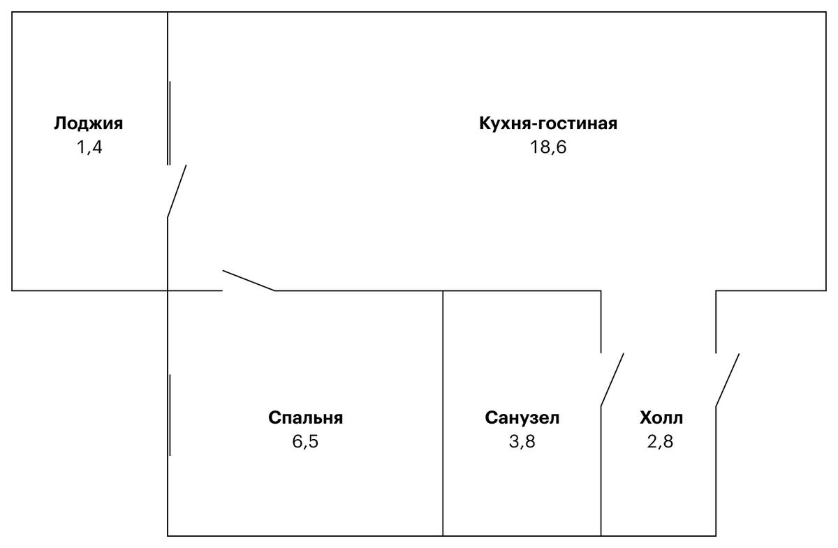 Вот так выглядит моя квартира на схеме. Маленькая и скромная, но будет уютно