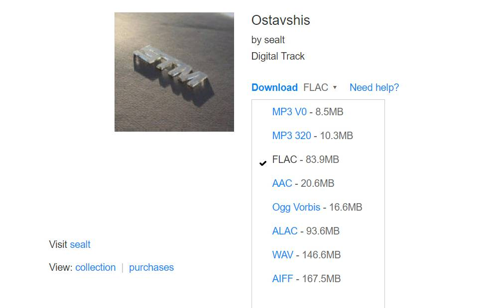Приходит ссылка на альбом. Можно выбрать подходящий формат. Я предпочитаю FLAC или ALAC: они дают хороший баланс между качеством и размером файлов
