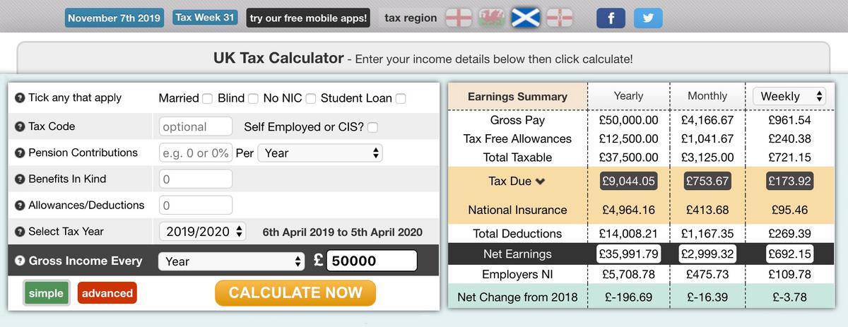 Расчет налогов в калькуляторе дляпримерной зарплаты в 50 000£ в год